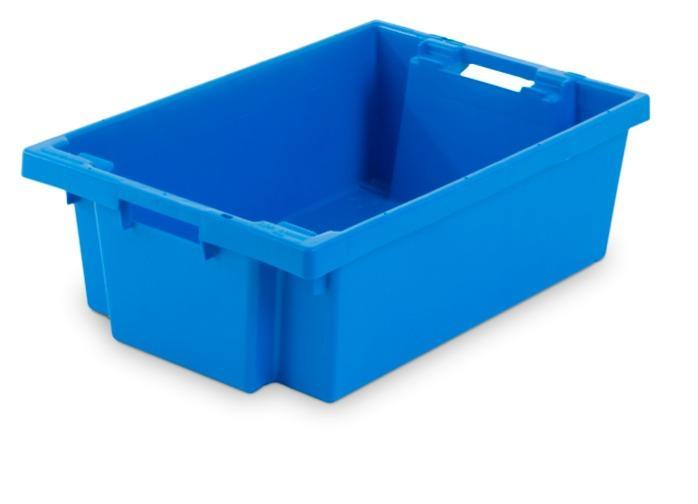 Cajas de plástico apilables y encajables - con abertura en las asas, 35L (cerrada y/o rejada)