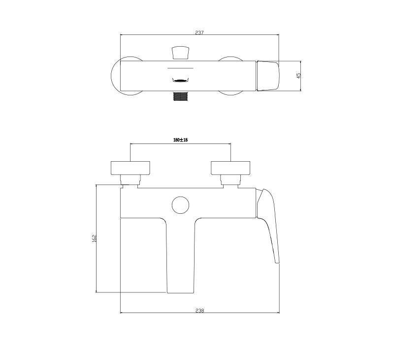 Mitigeur douche/baignoire chromé - carré - Plomberie & Sanitaires