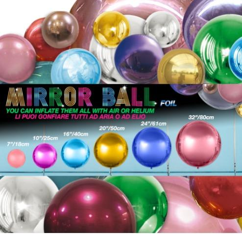 MIRROR BALL - Spherical balloons in mirrored metallic colors