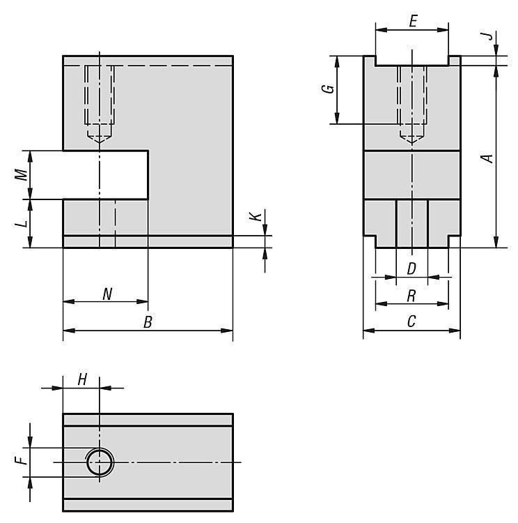 Bloc de bridage forme P - Éléments de bridage et d'ajustement