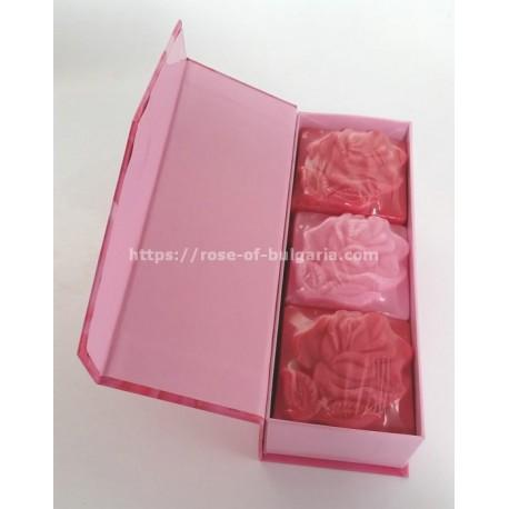 Coffret cadeau 3 savons à la rose - Coffrets cadeaux