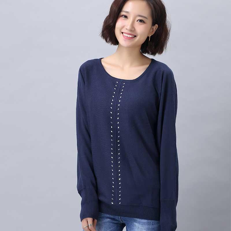 women's navy batwing-sleeved blouse