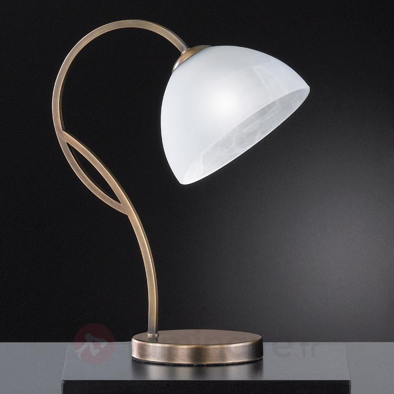 Lampe à poser en verre Pastille, lait. anc. - Lampes à poser classiques, antiques
