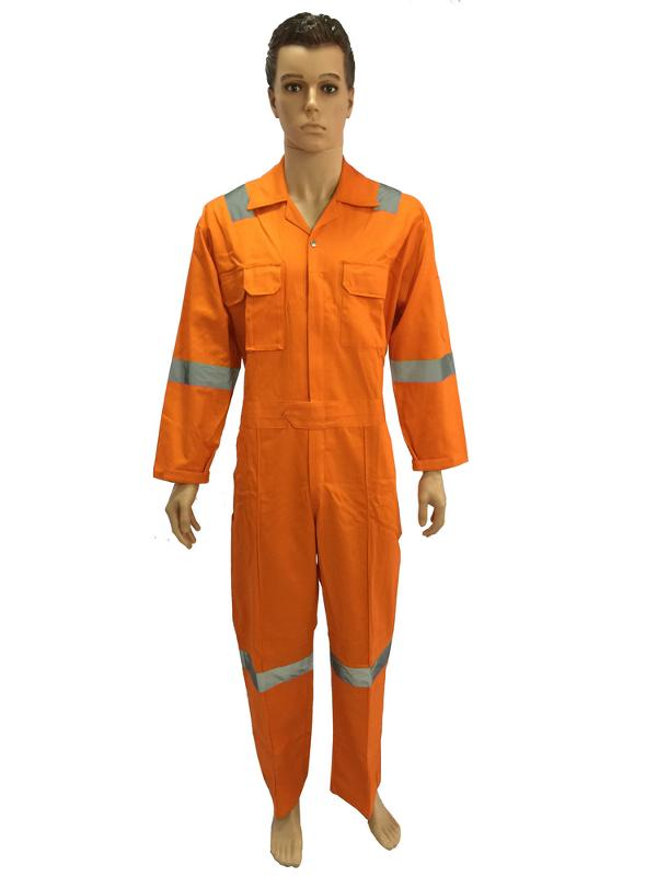 Coverall with reflective tapes