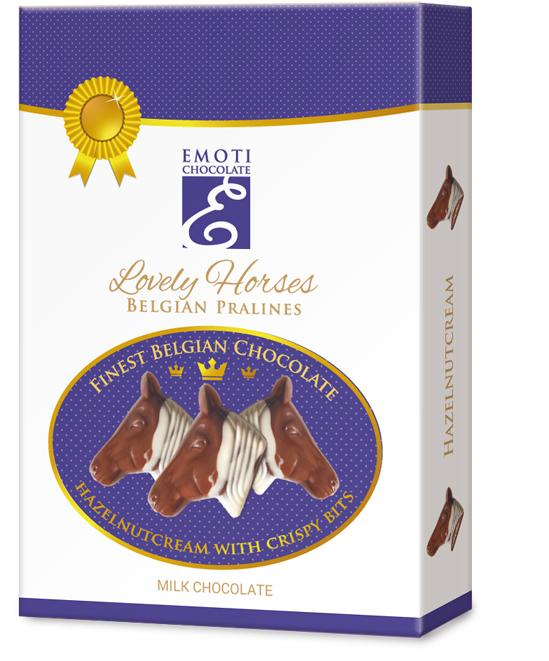EMOTI Horse's Head Milk Chocolates with hazelnut filing, 95g -