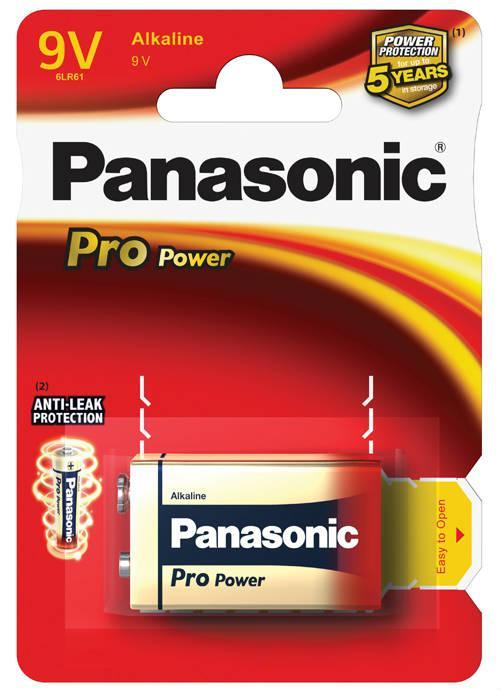 Batterie transistor 9V Pro Power 1 pz - 6LR61PPG/1BP | Blister da 1 pila 9V Panasonic
