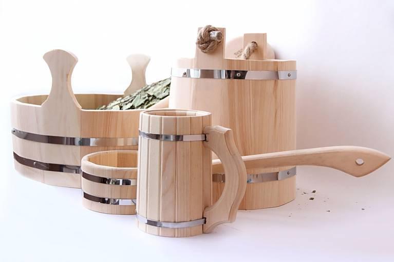 Аксессуары для сауны из кедра и липы - Продукция из дерева для бани и сауны