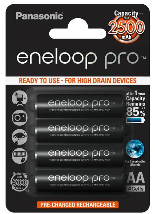 Batterie stilo ricaricabili Eneloop Pro 4pz - BK-3HCDE/4BE | Blister da 4 pile AA Panasonic
