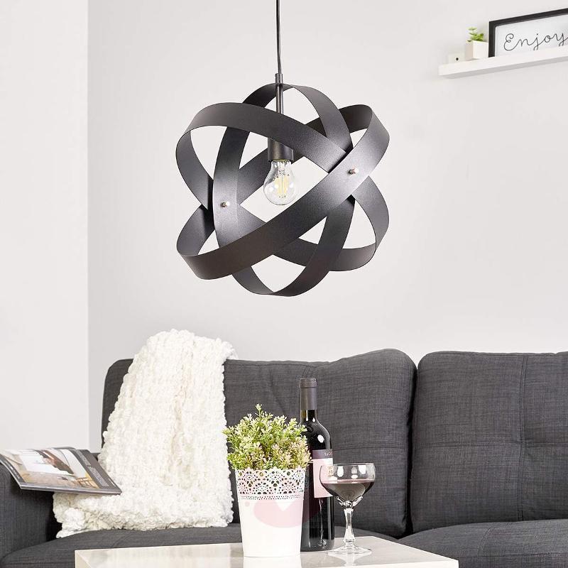 Black LED pendant light Cara with three rings - Pendant Lighting