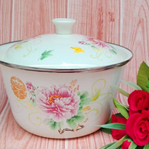 Enamel tureen with cover 20cm