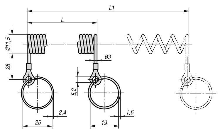 Câble de sécurité en spirale - Goupille d'arrêt