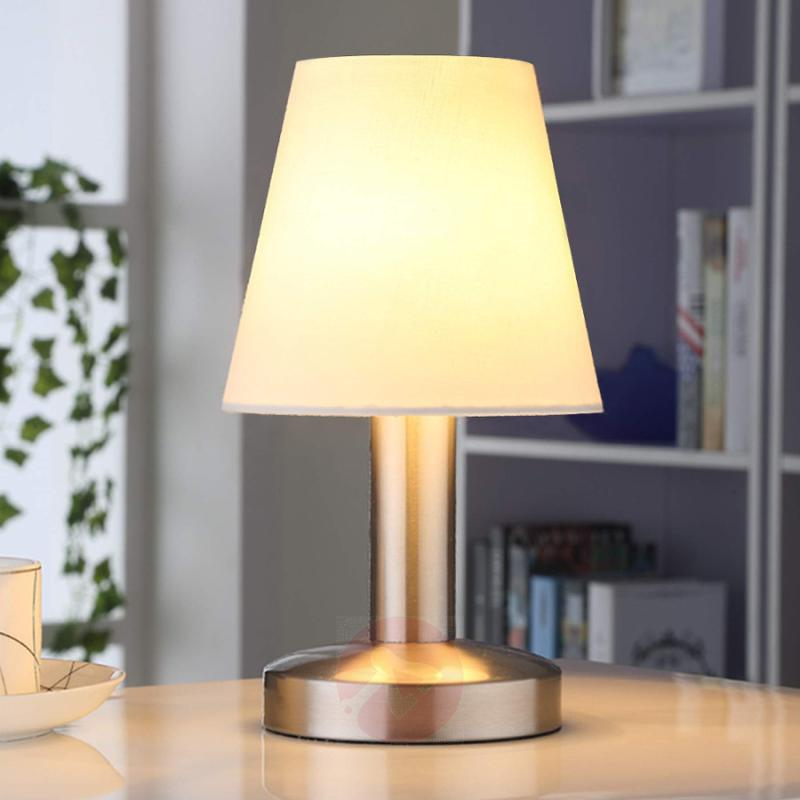 Bedside table lamp Hanno w. white fabric lampshade - indoor-lighting