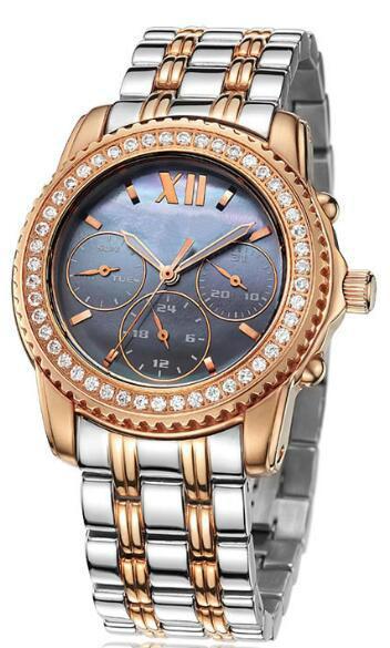 luxury quartz watch GCS13017 in Switzerland - OEM Rose gold steel strap waterproof multifunction quartz watches japan movement
