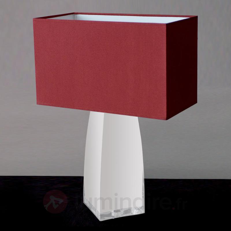Lampe à poser JENNIFER rouge et verre opale - Lampes à poser en tissu