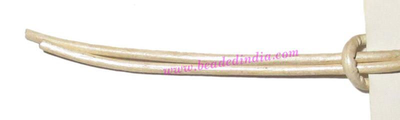 Leather Cords 0.5mm (half mm) round, metallic color - silver - Leather Cords 0.5mm (half mm) round, metallic color - silver.