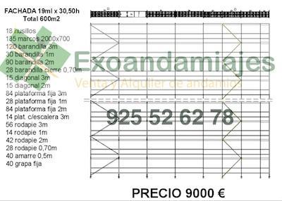 andamio europeo homologado - lote de 600m2 de andamio tendo homologado