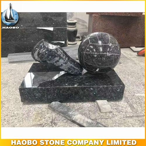 New Design Stone Football Carving Made In Blue Pearl Granite