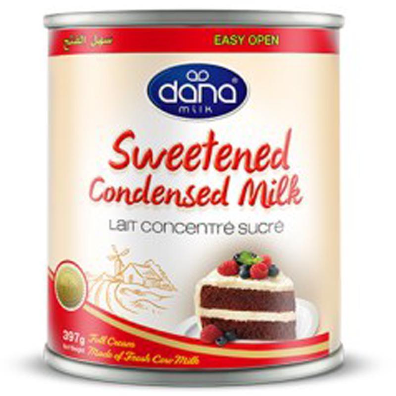 حليب دانا المكثف المحلى - حليب كامل الدسم أو المقشود مضاف الدهون في العلب - حجم 400 جرام أو 1 كيلو جرام