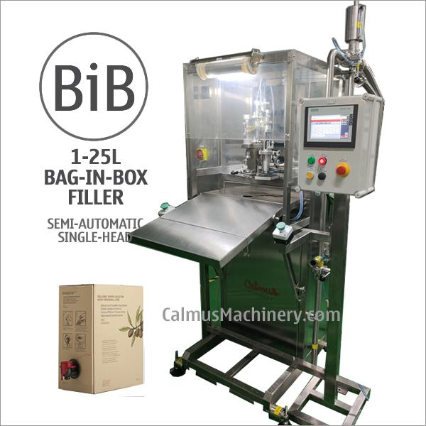 Semi-automatic 1-25 Litre Bag in Box Filler - Filling 1-25 Litre spout bags with drinking water, wine, liquid egg