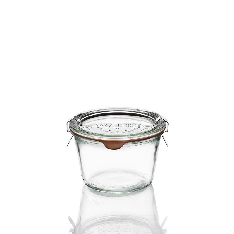 6 tarros en vidrio Weck Derecho 370 ml  - con tapas en vidrio y gomas (clips no incluidos)