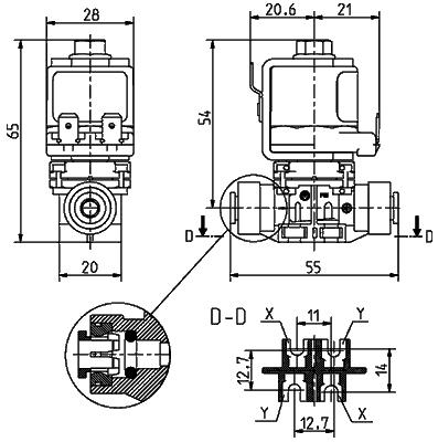 2/2 way direct acting solenoid valve NC DN 3, 4, 5  - 43.00x.102, 2