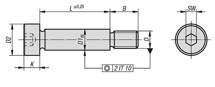 Vis rectifiée à épaulement similaire DIN ISO 7379 - Éléments de liaison