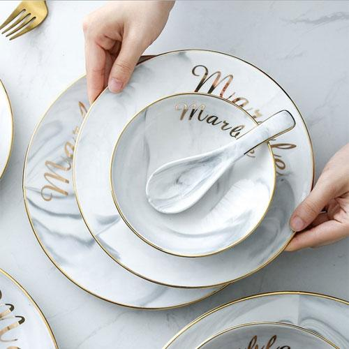 Nordic Style Marble Gold Inlay Porcelain Dessert Steak Salad Ceramic Plates - Dinnerware Sets