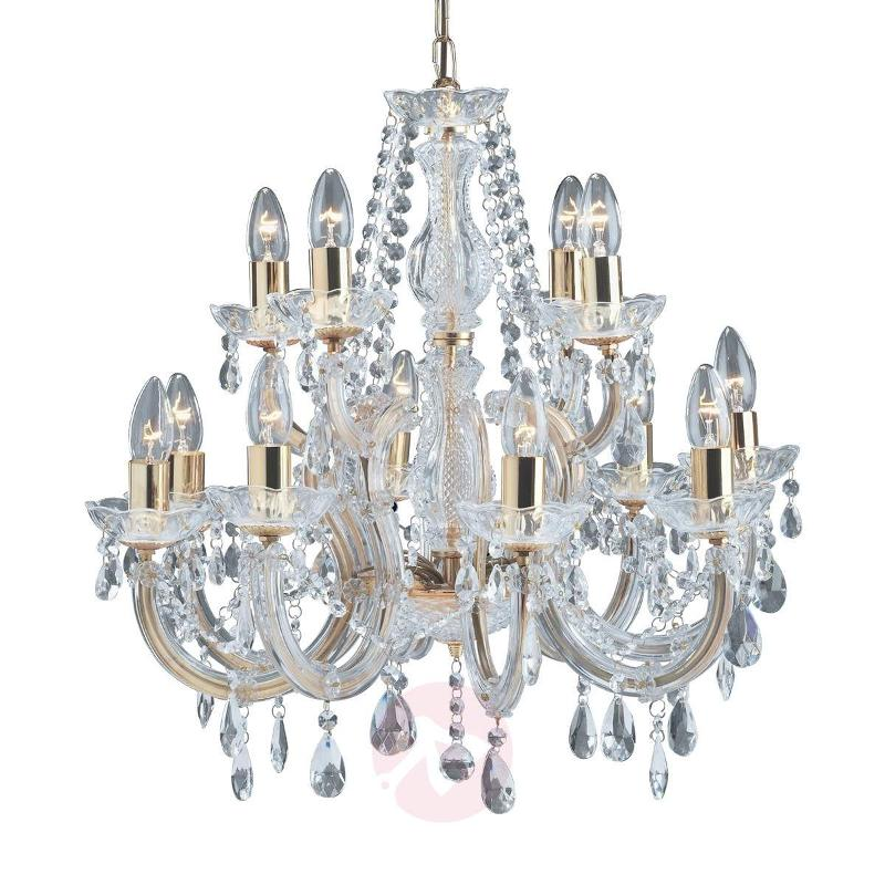 12-bulb Marie Therese chandelier, brass - Chandeliers