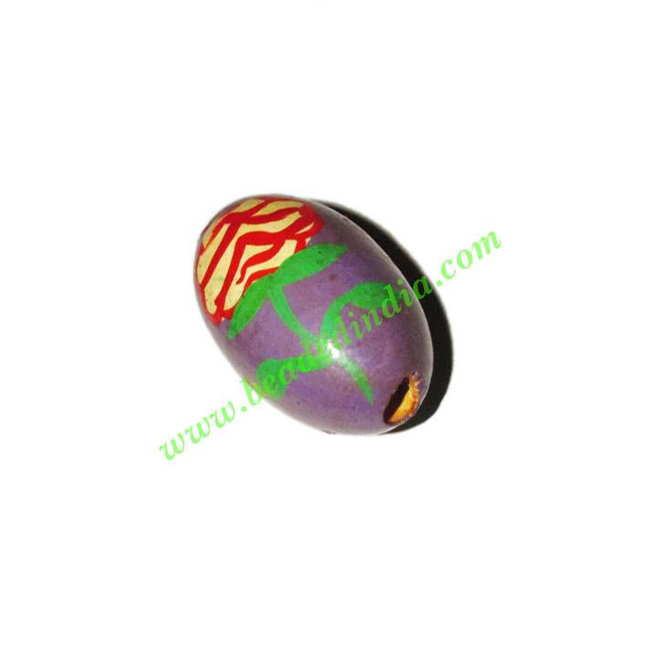 Wooden Painted Beads, Fancy Design Hand-painted beads, size  - Wooden Painted Beads, Fancy Design Hand-painted beads, size 20x32mm, weight appr