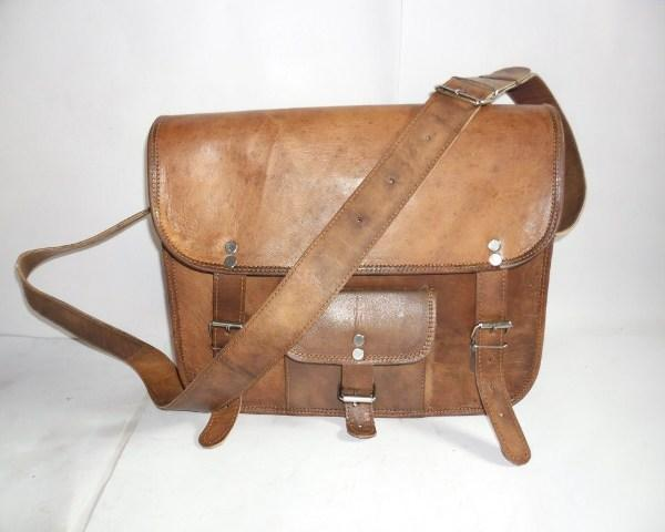 Leather Curve Bag With Small Pocket on Front  - Leather Curve Bag