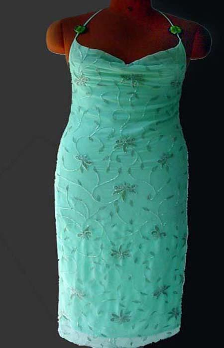 Evening Dress - Sea Green Dress Embroidered - Long Chiffon Dress with Satin Lining. Made in India