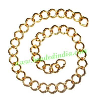 Gold Plated Metal Chain, size: 1x7mm, approx 29.4 meters in  - Gold Plated Metal Chain, size: 1x7mm, approx 29.4 meters in a Kg.