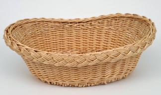 "Corbeille ""Bateau"" osier blanc  - L.30"