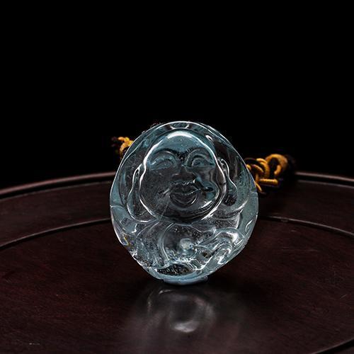 Natural aguamarina piezas talladas en forma de Buda -