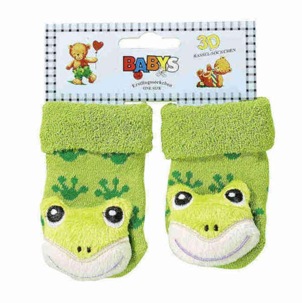 """5226 - Newborn Socks """"Baby-Rattle"""" - Cute baby socks – wide and soft. Appliquéd animal figurines. Rattle when moved."""