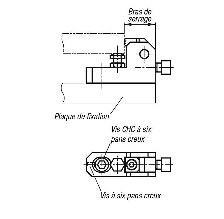 Crampon plaqueur avec appui réglable - Éléments de bridage et d'ajustement