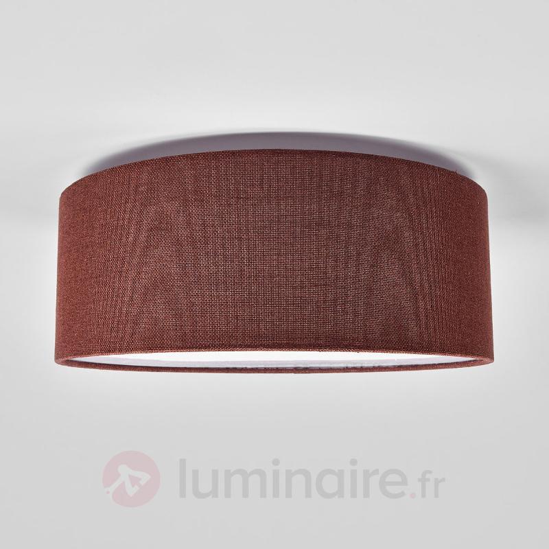 Plafonnier textile rond brun Henrika - Plafonniers en tissu