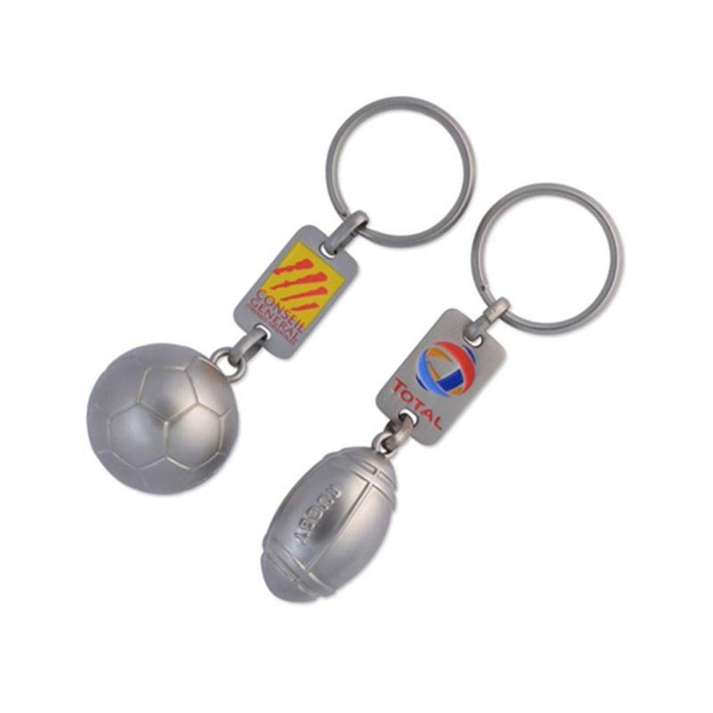 Porte-clés ballon foot ou rugby 3D - Porte-clés métal