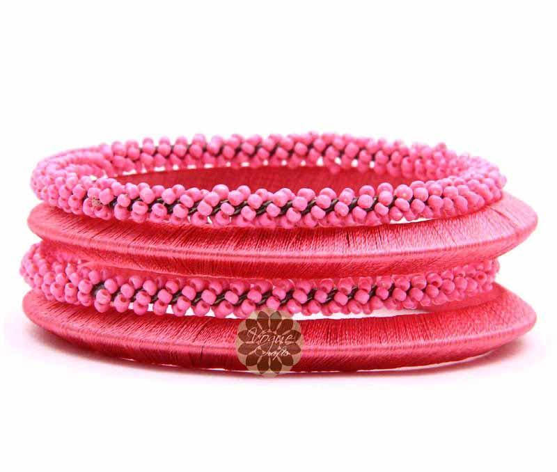 Beaded Pink Bangle Stack -