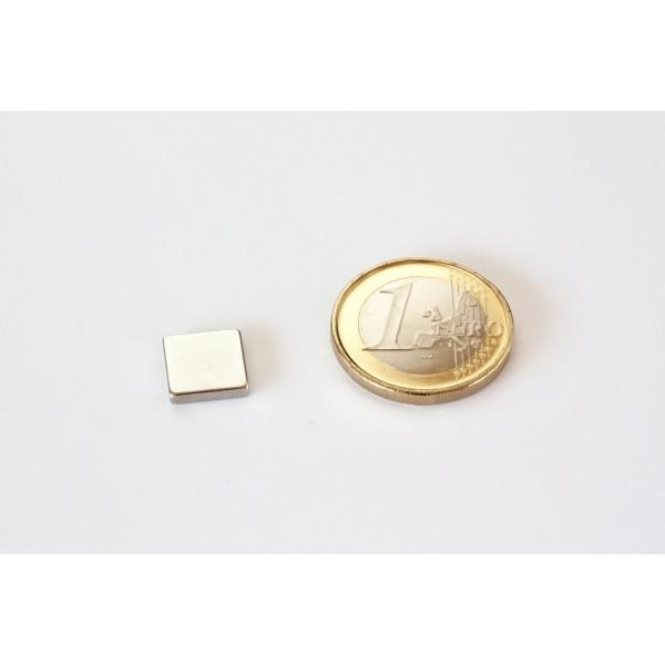 Block magnet, Neodymium, 10x10x2mm, N45, Ni-Cu-Ni,... - null