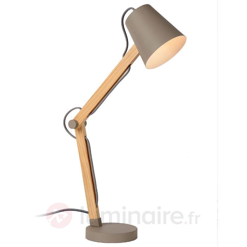 Lampe de bureau en bois Tony, réglable - Lampes de bureau