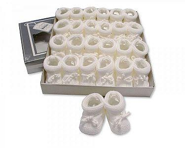 Knitted Tie-Up Baby Booties - White  -