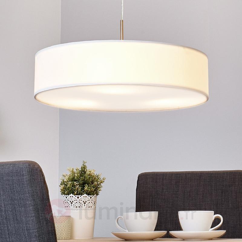 Suspension LED Sebastin en tissu de couleur crème - Suspensions en tissu