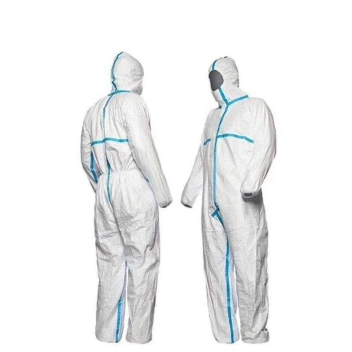 Type 3-4 White Coveralls Hospital Protection Suit Non Woven  - Heat Sealed Seams SMS White EU Type 3  4 Disposable Coverall With Melt tape