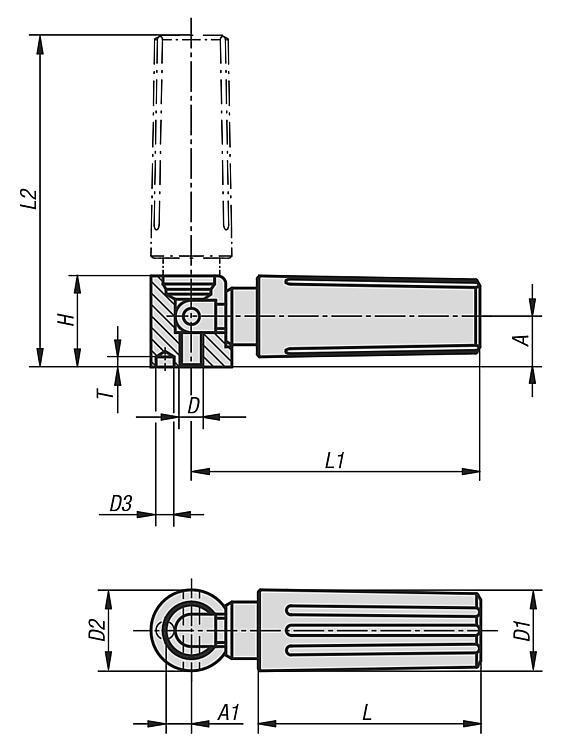 Poignée cylindrique escamotable - Volants, manivelles et poignées