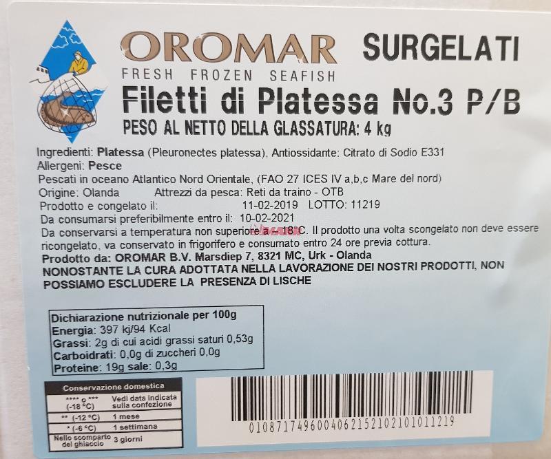 Filetto di Platessa P/B N° 3 IQF - Ittico - Filetti