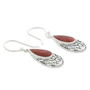 Elegantes Pendientes Plata de Ley y Coral Rojo - Modelo 54319