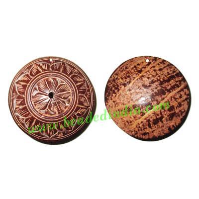 Handmade coconut shell wood pendants, size : 54x20mm - Handmade coconut shell wood pendants, size : 54x20mm