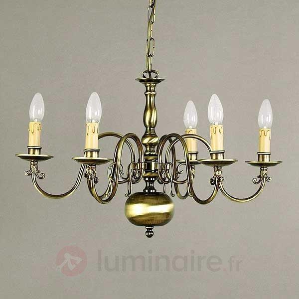 Lustre IMKE, 5 lampes, laiton ancien - Lustres classiques,antiques
