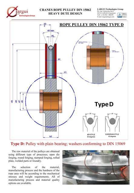 Poleas Cable Grúa / Crane Rope Sheaves - Poleas DIN 15062 Tipo D y otros diseños